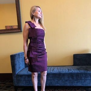 Purple Rouged One Shoulder Cocktail Dress Size 4